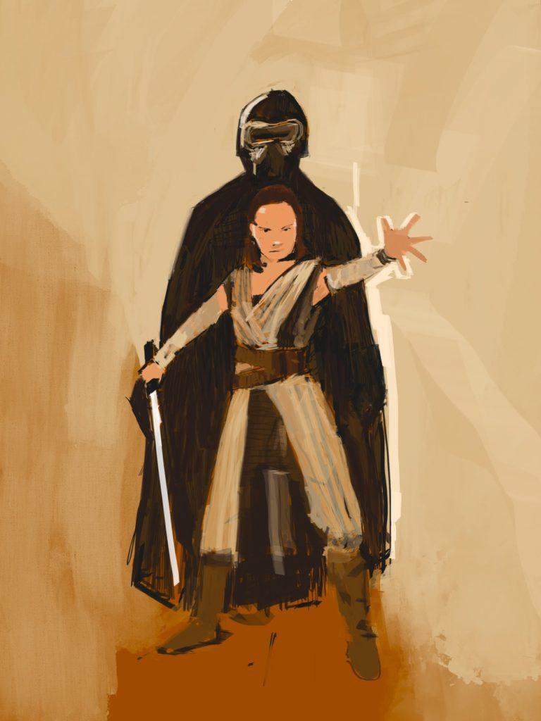 Rey y Kaylo Ren Ilustración